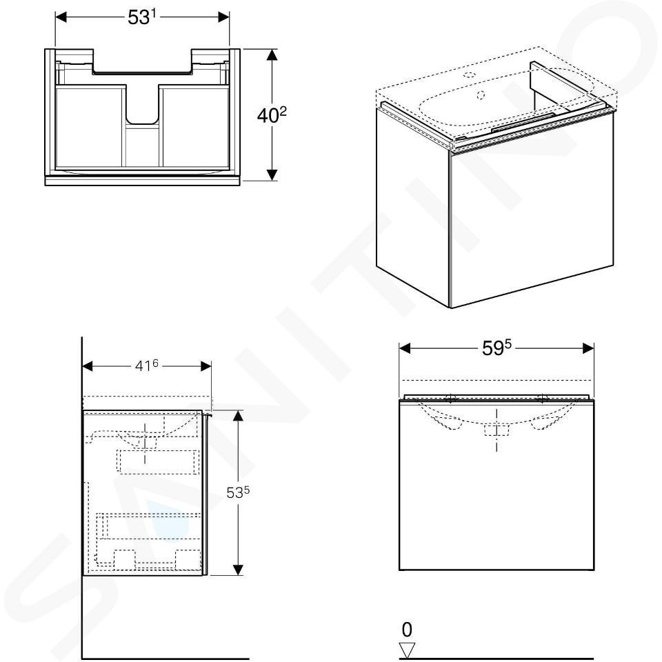 Geberit Acanto - Meuble sous lavabo 600 mm, lave 500.614.JK.2