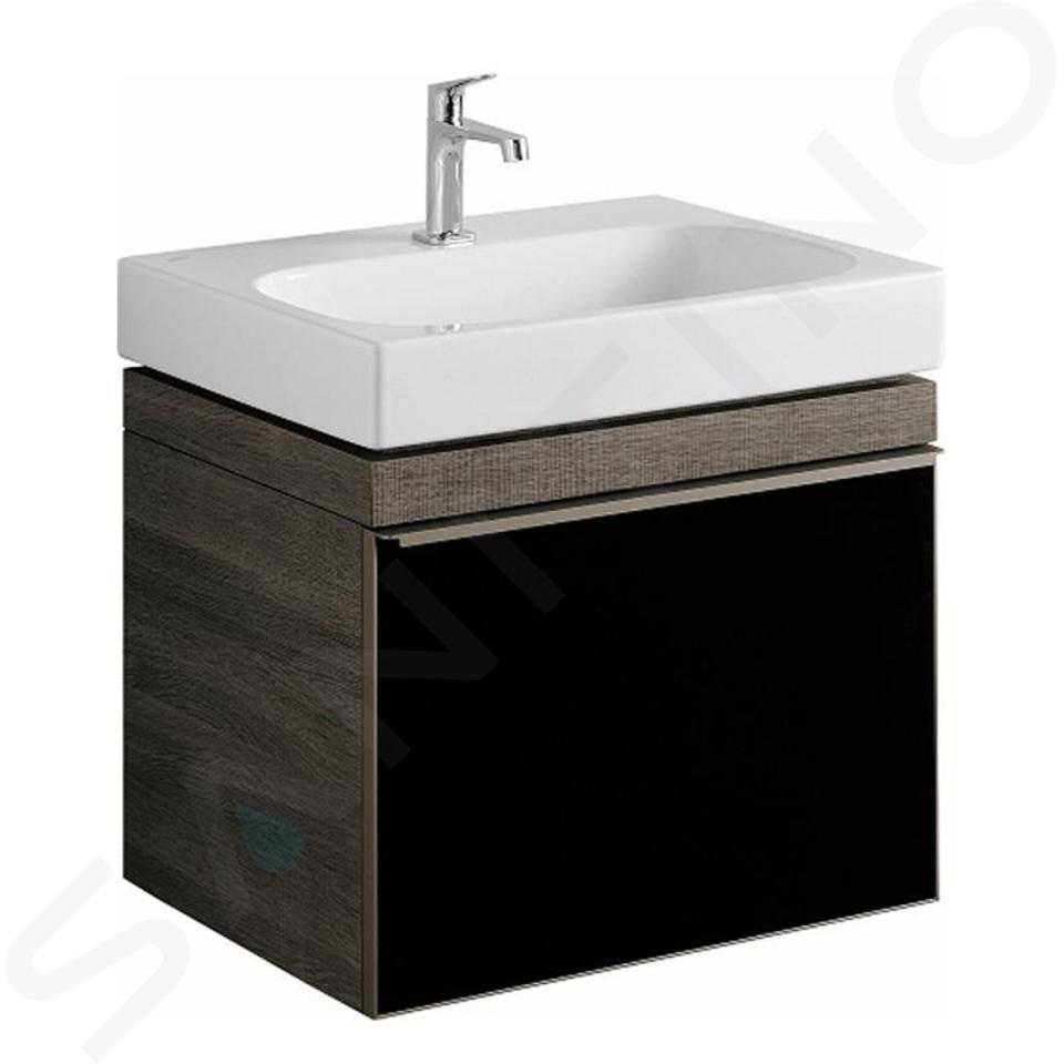 Geberit Citterio - Meuble sous lavabo 600 mm, noir poli/chêne gris brun 500.556.JJ.1