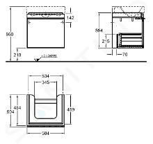 Geberit Citterio - Wastafelonderkast 600 mm, glanzend zwart/eik grijsbruin 500.556.JJ.1