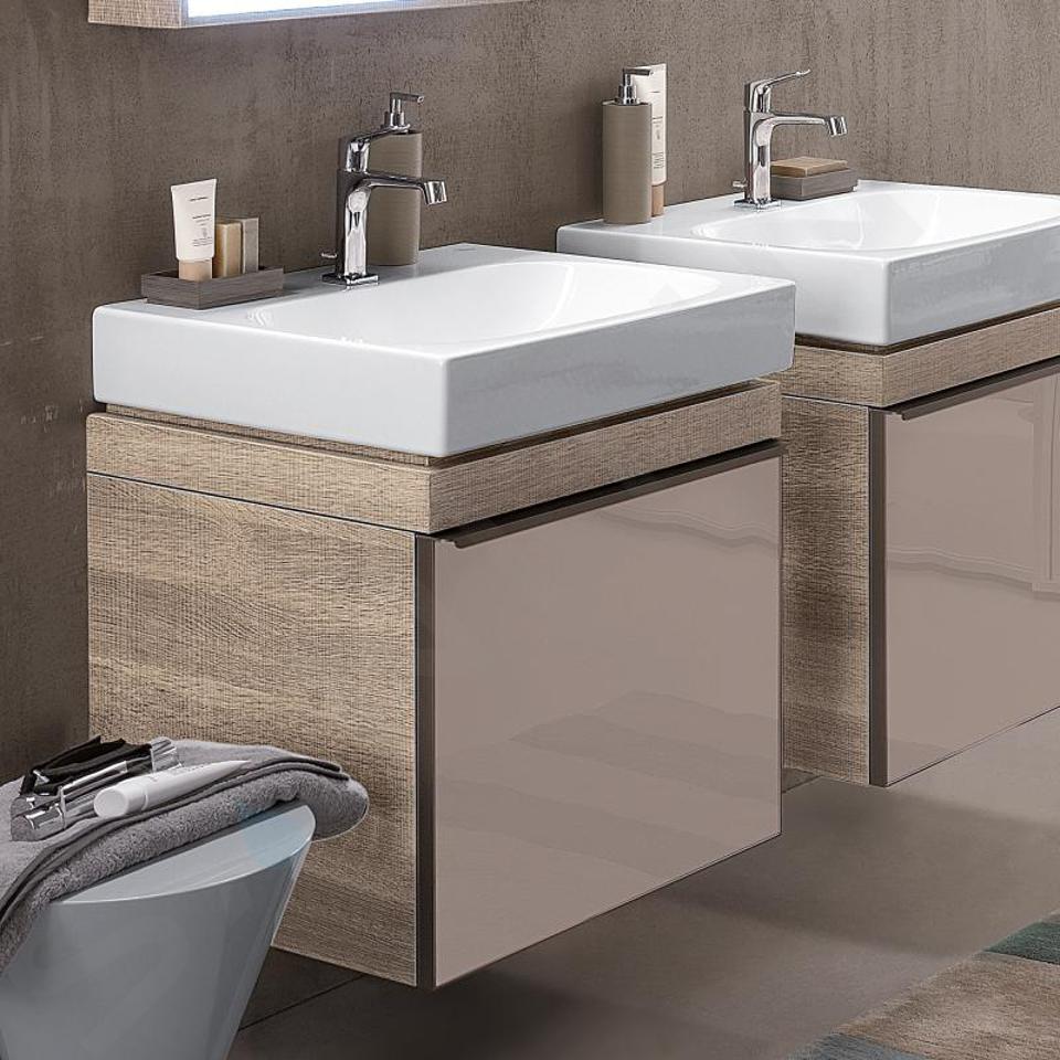 Geberit Citterio - Meuble sous lavabo 600 mm, gris brun poli/chêne beige 500.556.JI.1