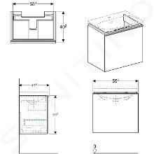Geberit Acanto - Waschtischunterschrank 600 mm, sandgrau 500.614.JL.2