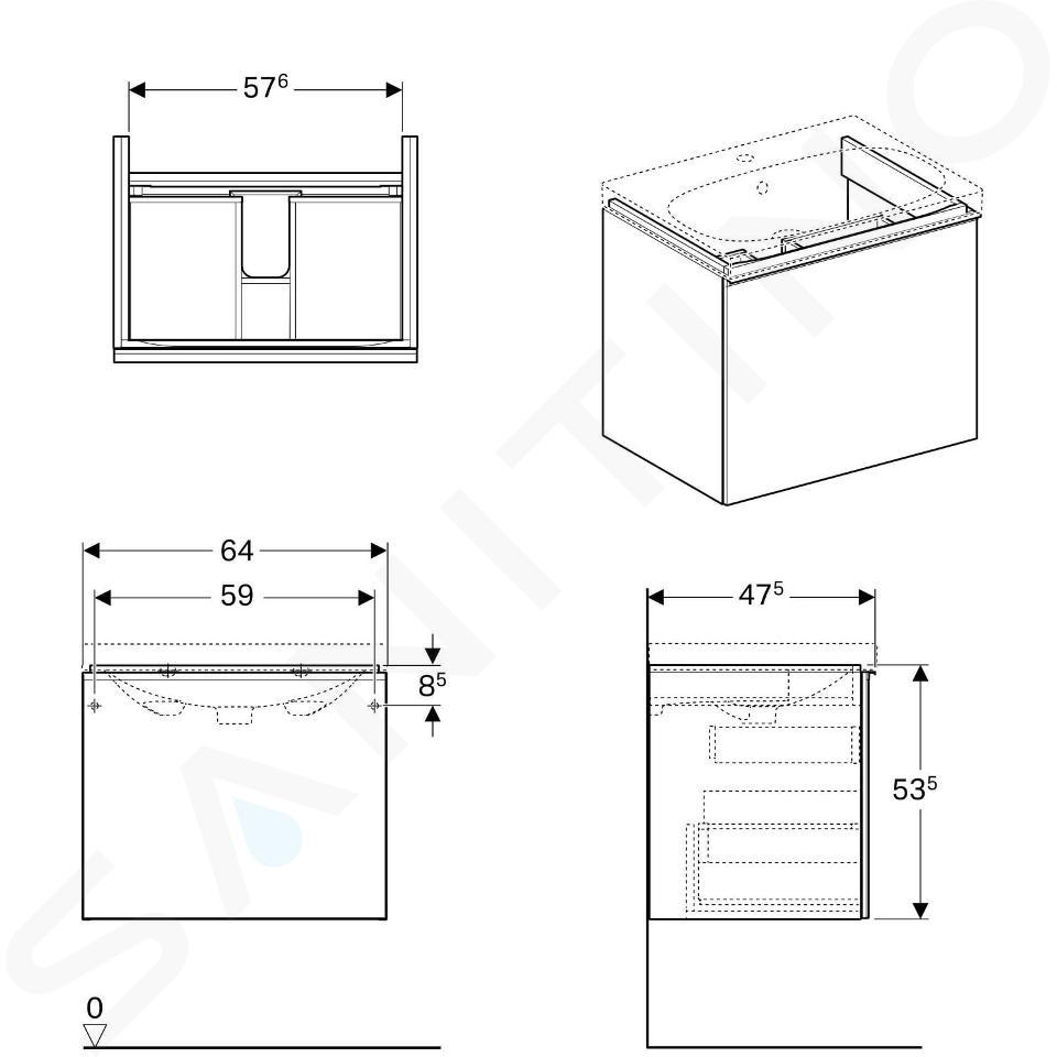 Geberit Acanto - Waschtischunterschrank 650 mm, weiß glänzend 500.610.01.2