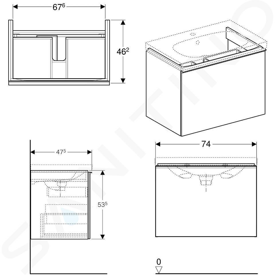 Geberit Acanto - Meuble sous lavabo 750 mm, noir 500.611.16.1
