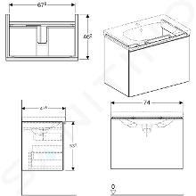 Geberit Acanto - Waschtischunterschrank 750 mm, weiß glänzend 500.611.01.2
