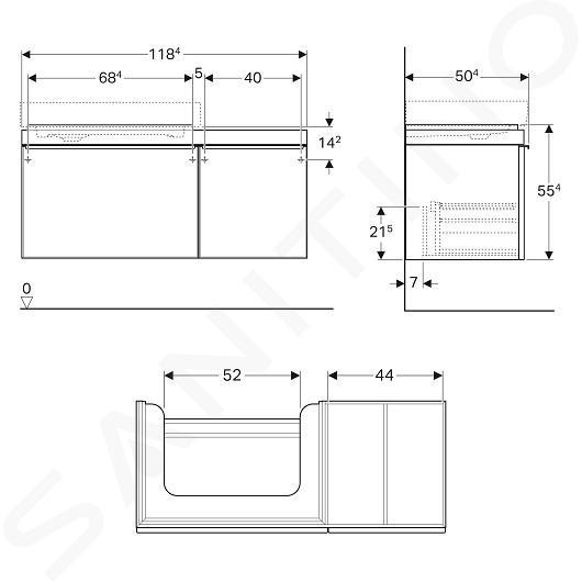 Geberit Citterio - Wastafelonderkast 750 mm, met bijzetplank, glanzend zwart/eik grijsbruin 500.562.JJ.1