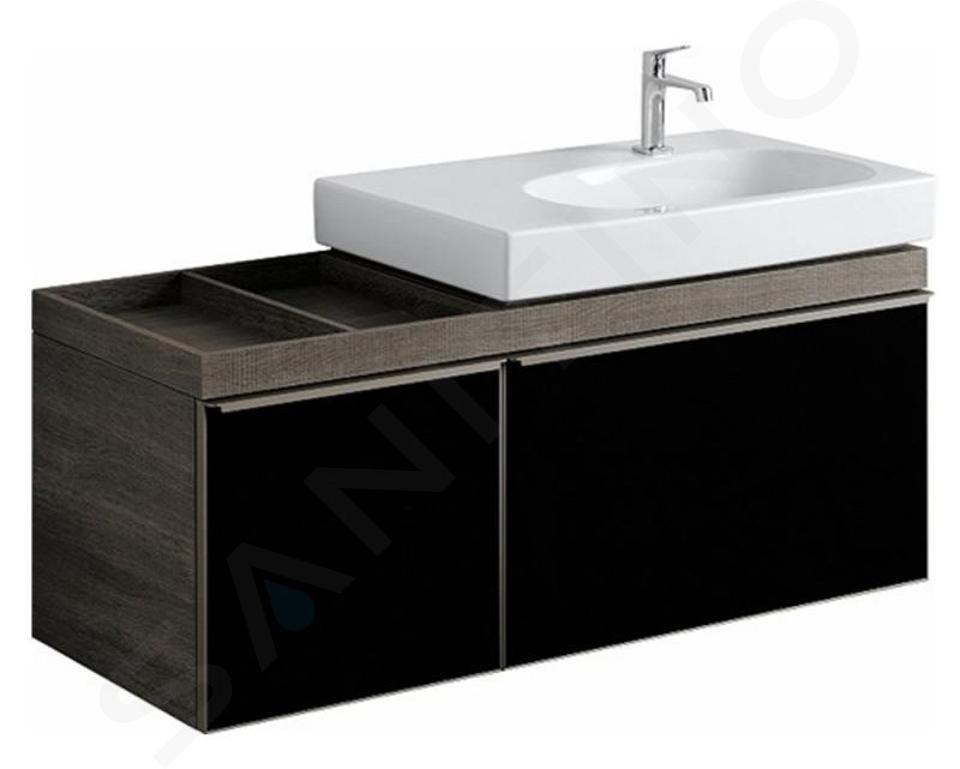 Geberit Citterio - Wastafelonderkast 750 mm, met bijzetplank, glanzend zwart/eik grijsbruin 500.563.JJ.1