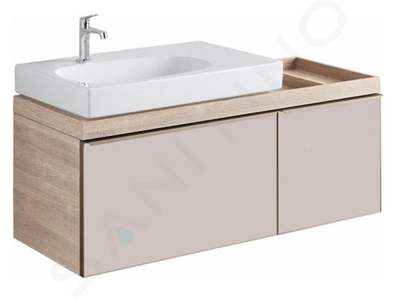Geberit Citterio - Waschtischunterschrank 750 mm, mit Ablagefläche, graubraun glänzend / Eiche beige 500.562.JI.1