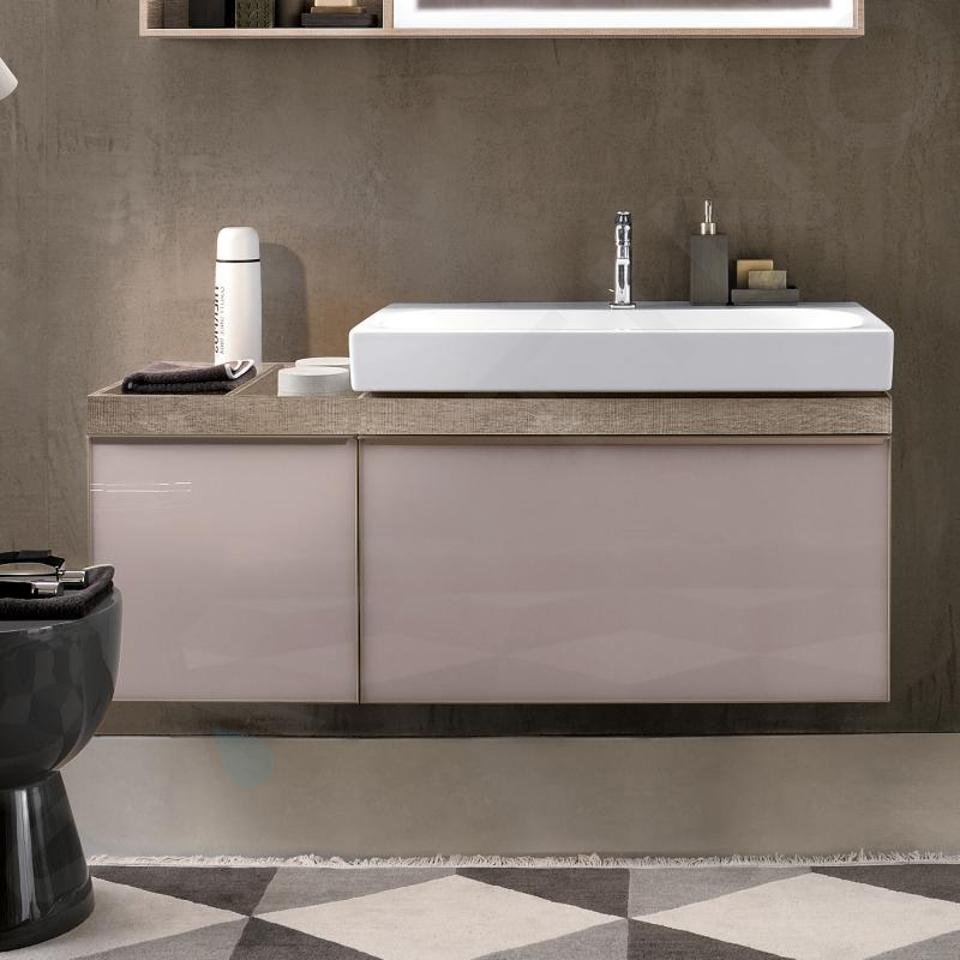 Geberit Citterio - Waschtischunterschrank 750 mm, mit Ablagefläche, graubraun glänzend / Eiche beige 500.563.JI.1
