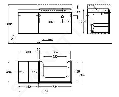 Geberit Citterio - Wastafelonderkast 750 mm, met bijzetplank, glanzend grijsbruin/eik beige 500.563.JI.1