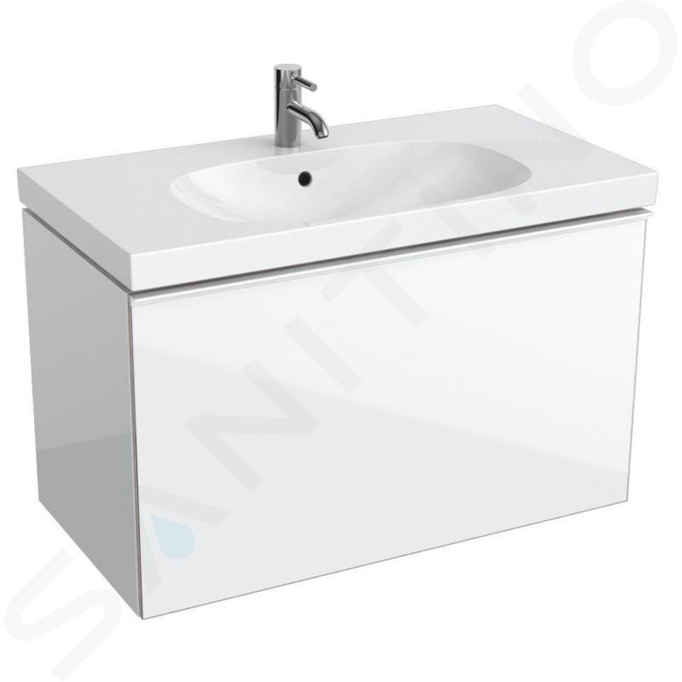 Geberit Acanto - Meuble sous lavabo 900 mm, blanc poli 500.612.01.2