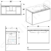 Geberit Acanto - Waschtischunterschrank 900 mm, weiß glänzend 500.612.01.2