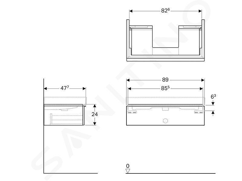 Geberit iCon - Meuble sous lavabo 900 mm, blanc mat 841290000