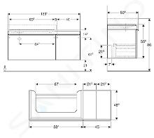 Geberit Citterio - Wastafelonderkast 900 mm, met bijzetplank, glanzend zwart/eik grijsbruin 500.567.JJ.1