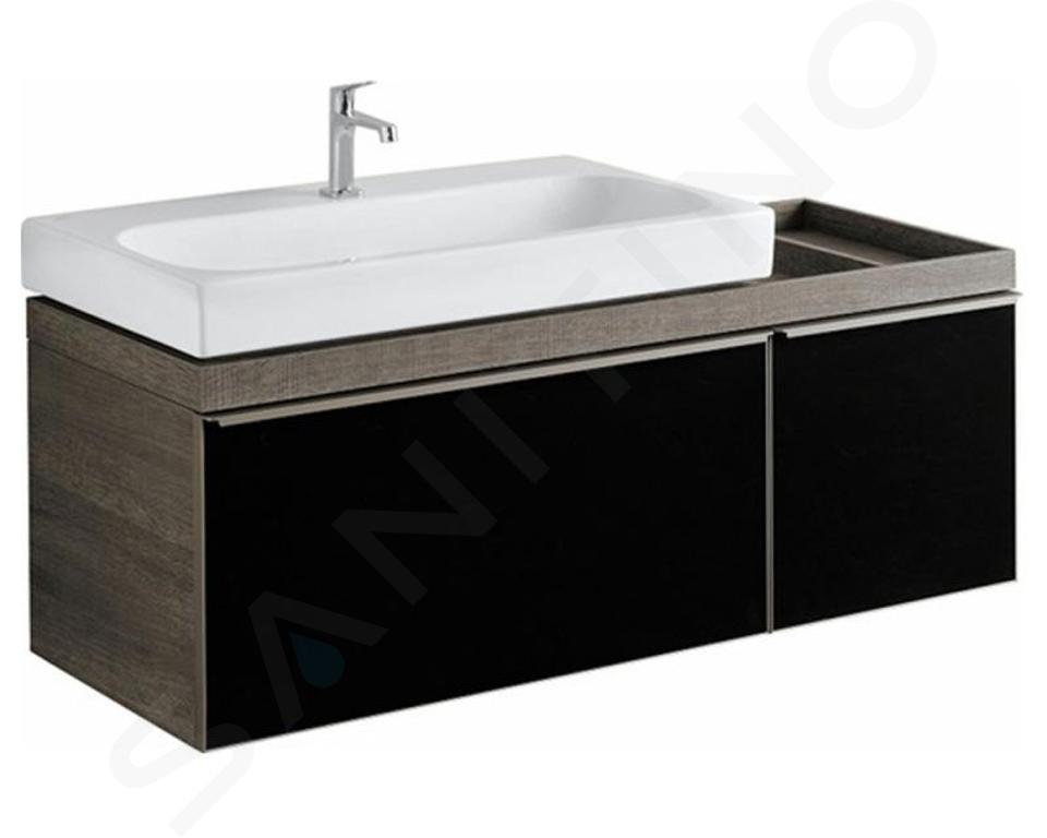 Geberit Citterio - Meuble sous lavabo 900 mm, avec plage de dépose, noir poli/chêne gris brun 500.567.JJ.1