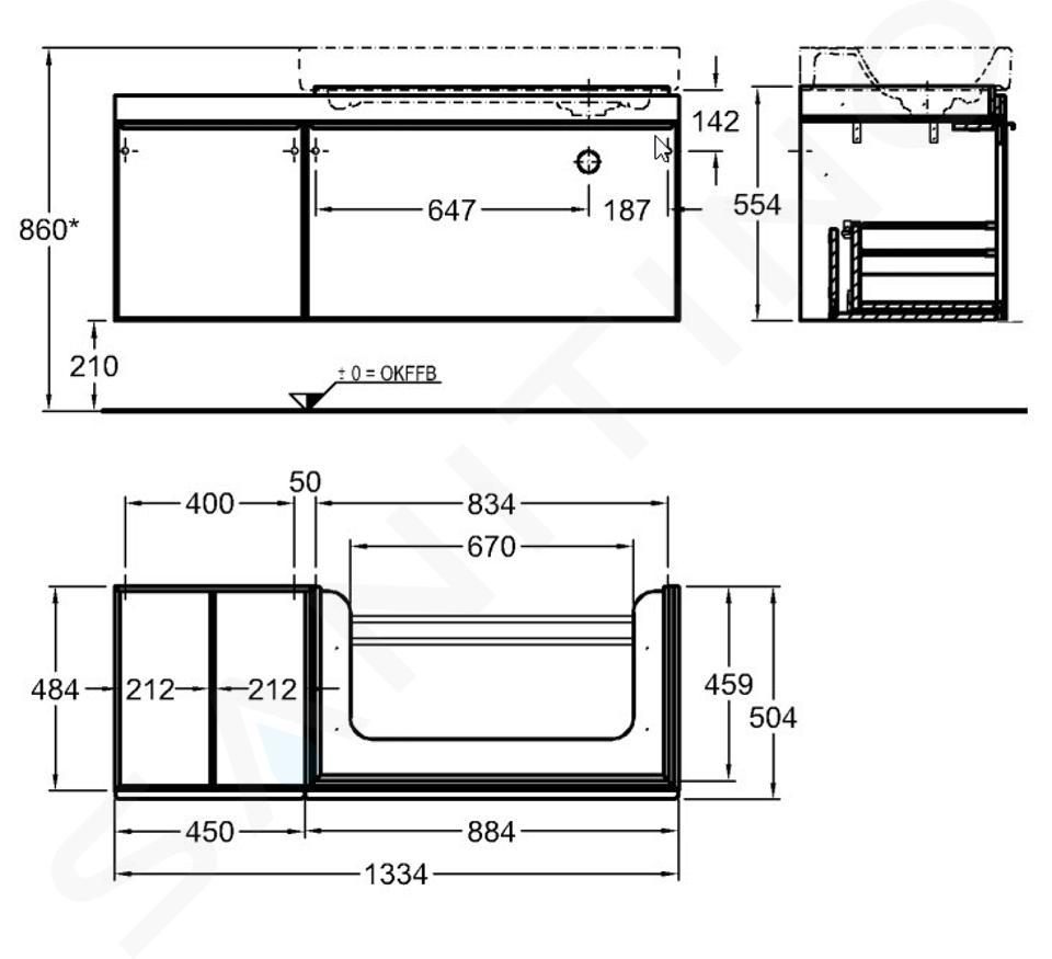 Geberit Citterio - Waschtischunterschrank 900 mm, mit Ablagefläche, schwarz glänzend / graubraun Eiche 500.568.JJ.1