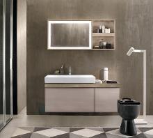 Geberit Citterio - Waschtischunterschrank 900 mm, mit Ablagefläche, graubraun glänzend / Eiche beige 500.567.JI.1