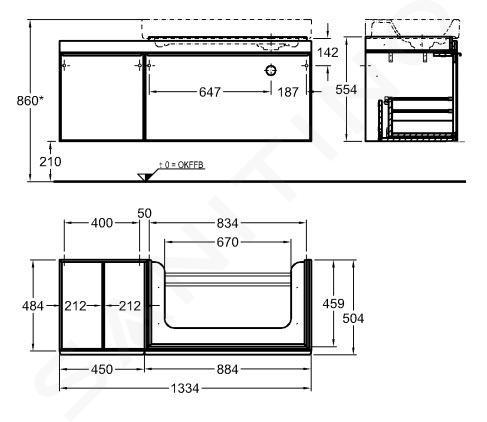 Geberit Citterio - Wastafelonderkast 900 mm, met bijzetplank, glanzend grijsbruin/eik beige 500.568.JI.1