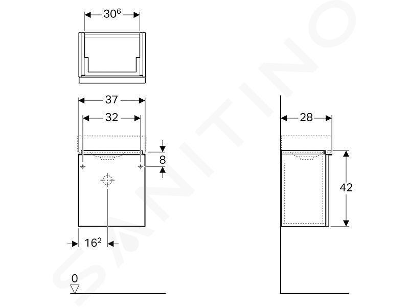 Geberit iCon - Fontein onderkast 380 mm, platina glanzend 840839000
