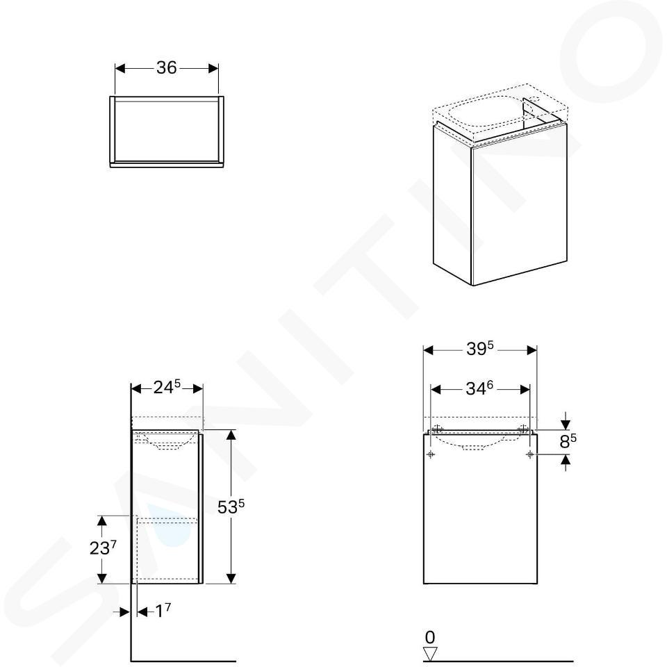 Geberit Acanto - Fontein onderkast 400 mm, glanzend wit 500.607.01.2