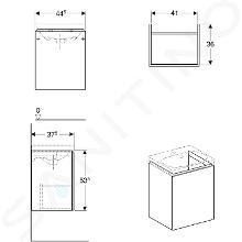 Geberit Acanto - Unterschrank für Handwaschbecken 450 mm, weiß glänzend 500.608.01.2