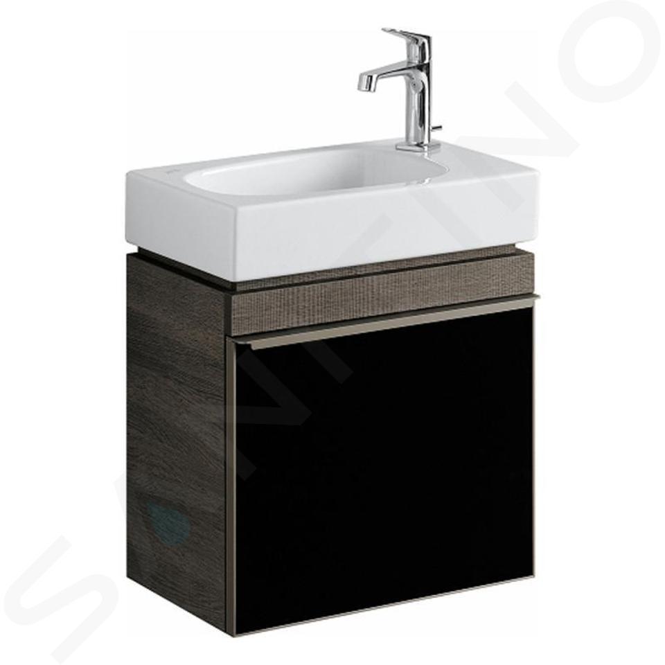 Geberit Citterio - Skříňka pod umývátko 450 mm, lesklá černá/šedohnědý dub 500.555.JJ.1