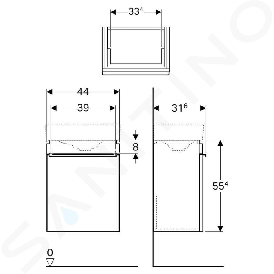 Geberit Citterio - Unterschrank für Handwaschbecken 450 mm, graubraun / Eiche beige 500.555.JI.1