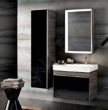 Geberit Citterio - Hoge badkamerkast 1600x400 mm, glanzend zwart/eik grijsbruine 500.554.JJ.1