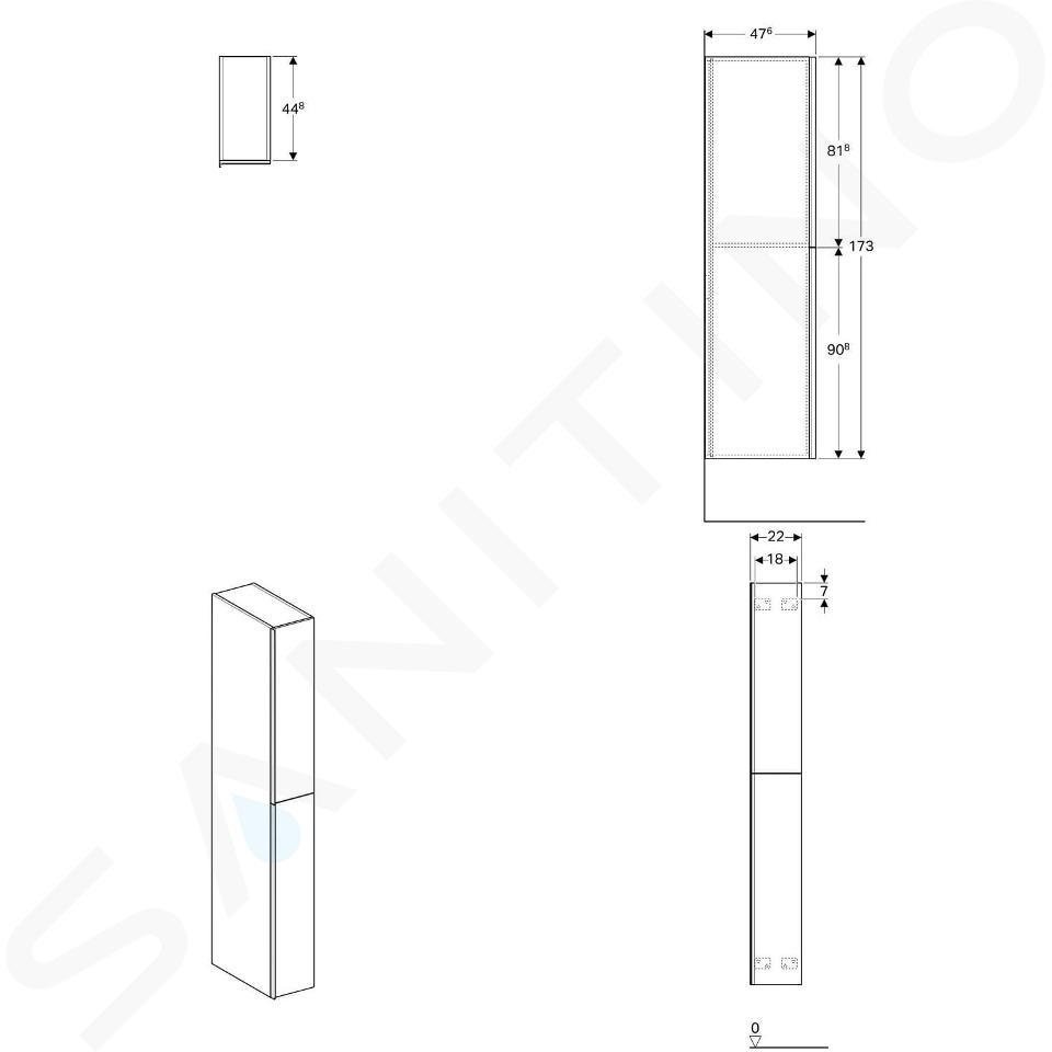Geberit Acanto - Hochschrank 1730x220 mm, 2 Auszüge, sandgrau 500.638.JL.2