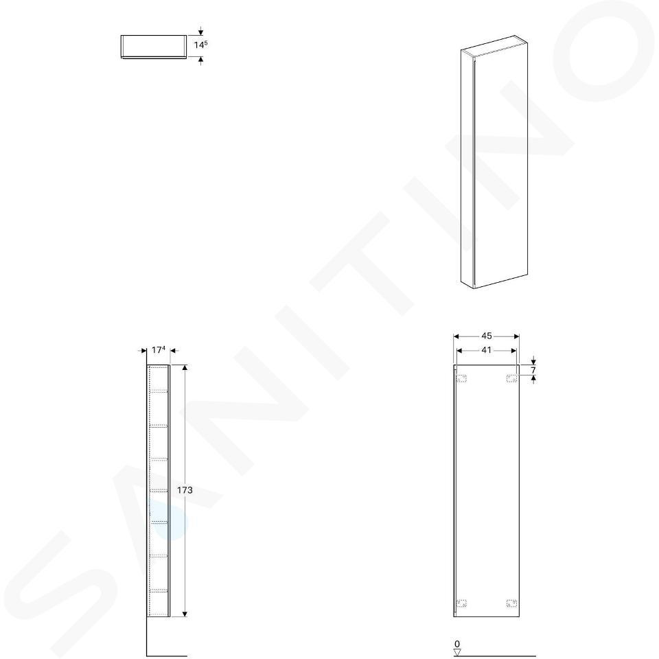 Geberit Acanto - Hoge badkamerkast 1730x450 mm, zand grijs 500.637.JL.2