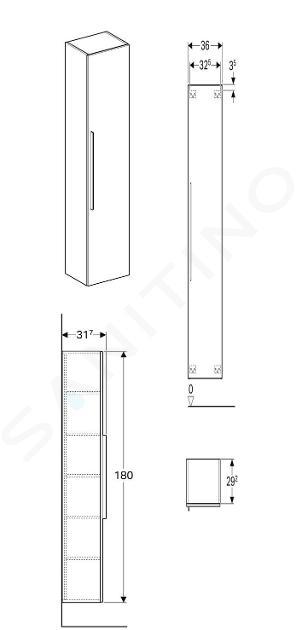 Geberit iCon - Colonne haute 1800x360 mm, blanc mat 841000000