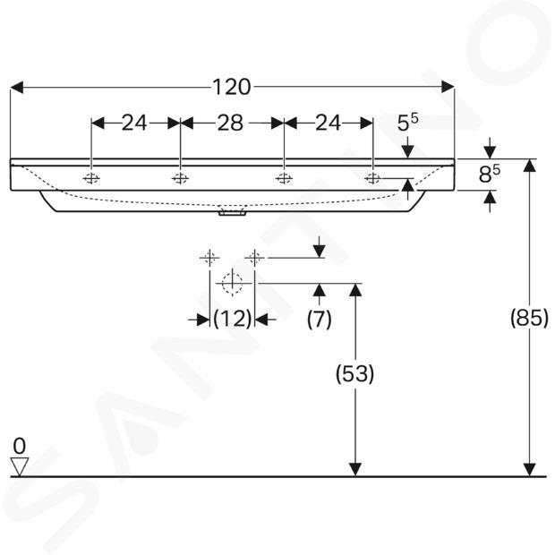 Geberit Xeno 2 - Waschtisch 1200x480 mm, ohne Hahnloch und Überlauf, mit KeraTect, weiß 500.552.01.1
