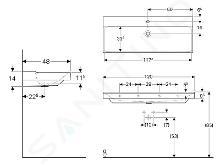 Geberit Xeno 2 - Lavabo 1200x480 mm, avec 1 trou, sans trop-plein, avec KeraTect, blanc 500.551.01.1