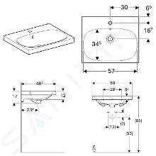 Geberit Acanto - Wastafel 600x482 mm, met kraangat en overloop, KeraTect, wit 500.620.01.8
