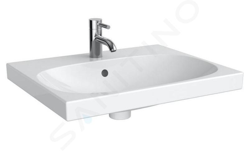 Geberit Acanto - Lavabo 600x482 mm, avec 1 trou, avec trop-plein, avec KeraTect, blanc 500.620.01.8