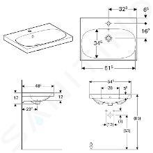 Geberit Acanto - Lavabo 650x482 mm, avec 1 trou, avec trop-plein, blanc 500.621.01.2