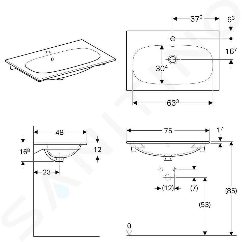 Geberit Acanto - Waschtisch 750x480 mm, mit Hahnloch und Überlauf, weiß 500.641.01.2