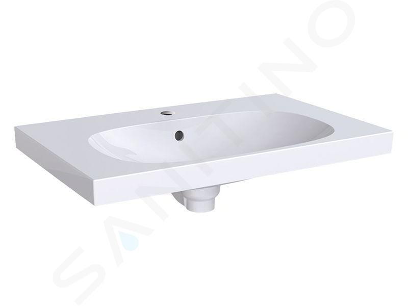 Geberit Acanto - Lavabo 750x482 mm, avec 1 trou, avec trop-plein, blanc 500.622.01.2