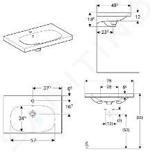 Geberit Acanto - Lavabo 750x482 mm, foro per miscelatore, con troppopieno, con KeraTect, bianco 500.622.01.8