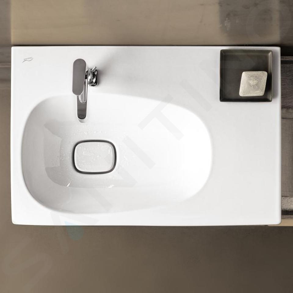 Geberit Citterio - Wastafel 750x500 mm, kraangat links, zonder overloop, met bijzetplank rechts, KeraTect, wit 500.545.01.1