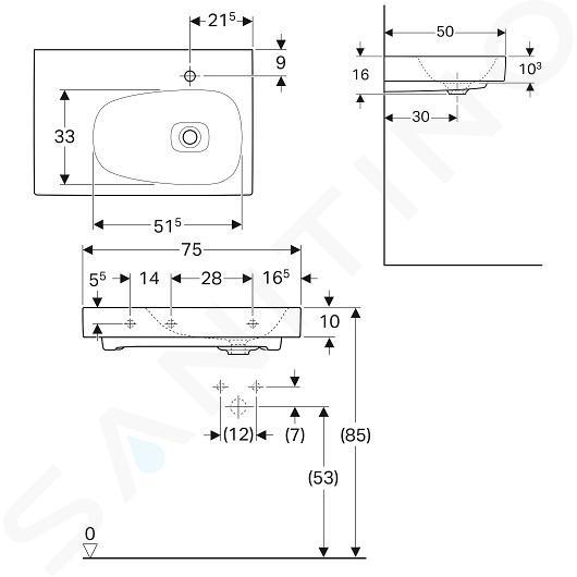 Geberit Citterio - Waschtisch 750x500 mm, mit Hahnloch rechts, ohne Überlauf, mit Ablagefläche links, mit KeraTect, weiß 500.546.01.1