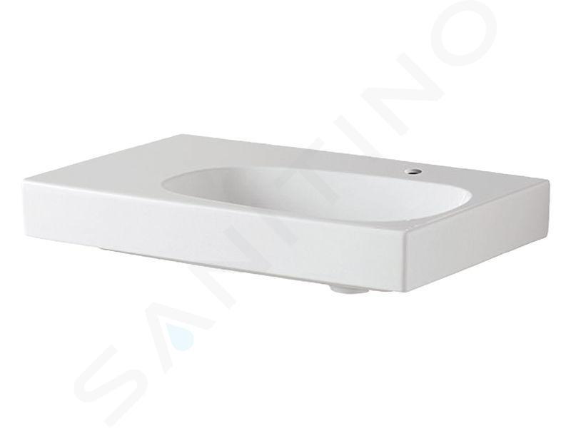 Geberit Citterio - Lavabo 750x500 mm, avec 1 trou à droite, sans trop-plein, avec plage de dépose à gauche, avec KeraTect, blanc 500.546.01.1