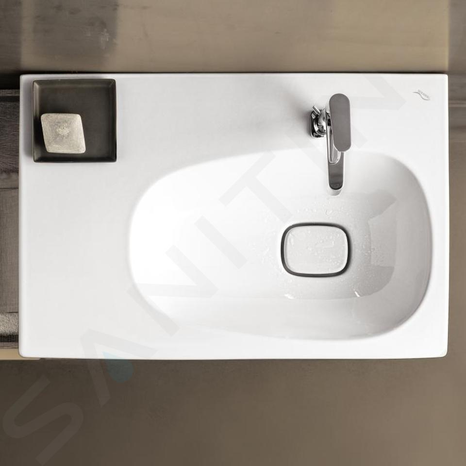 Geberit Citterio - Wastafel 750x500 mm, kraangat rechts, zonder overloop, met bijzetplank links, KeraTect, wit 500.546.01.1