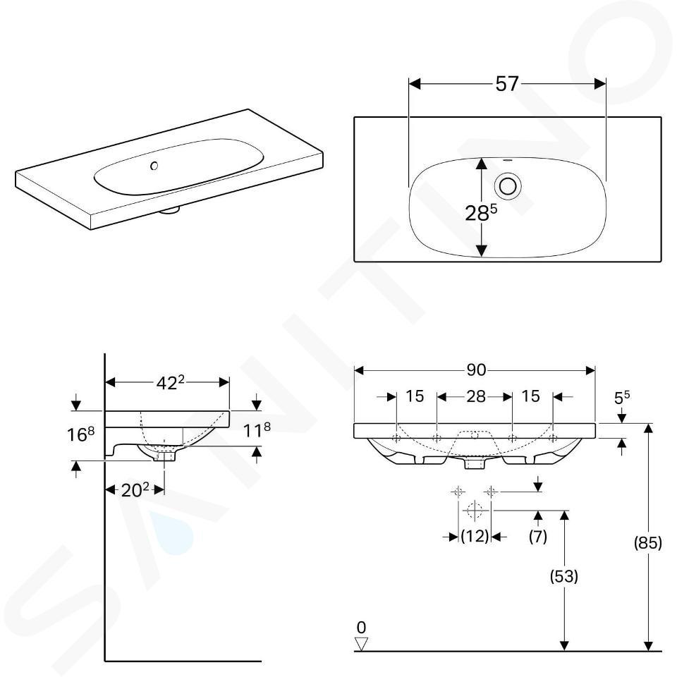 Geberit Acanto - Lavabo 900x422 mm, senza foro per miscelatore, con troppopieno, bianco 500.634.01.2