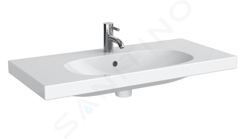 Geberit Acanto - Wastafel 900x422 mm, zonder kraangat, met overloop, wit 500.634.01.2