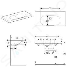 Geberit Acanto - Lavabo 900x422 mm, senza foro per miscelatore, con troppopieno, con KeraTect, bianco 500.634.01.8
