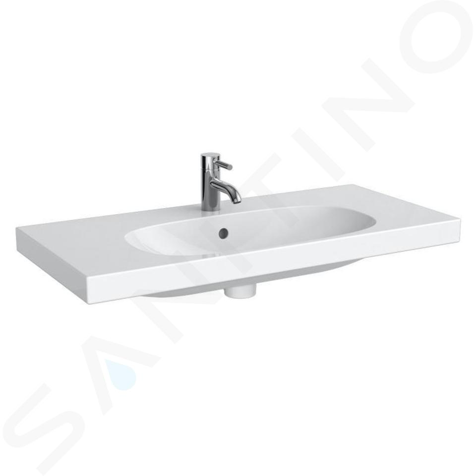 Geberit Acanto - Waschtisch 900x422 mm, ohne Hahnloch, mit Überlauf, mit KeraTect, weiß 500.634.01.8