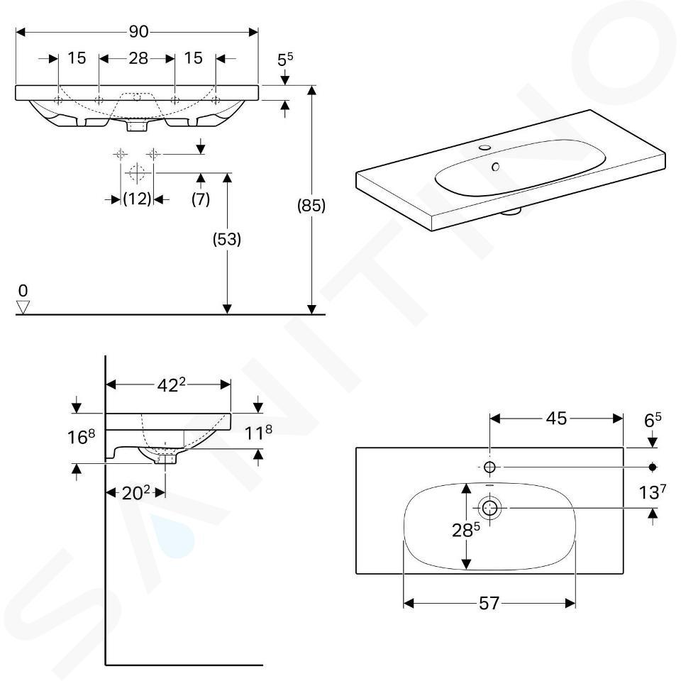 Geberit Acanto - Waschtisch 900x422 mm, mit Hahnloch und Überlauf, weiß 500.633.01.2