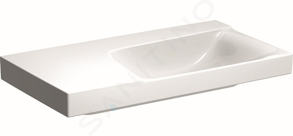 Geberit Xeno 2 - Lavabo 900x480 mm, sans trou, sans trop-plein, avec plage de dépose à gauche, avec KeraTect, blanc 500.536.01.1