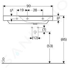 Geberit Xeno 2 - Wastafel 900x480 mm, bez otvoru pro baterii, zonder overloop, met bijzetplank links, KeraTect, wit 500.536.01.1