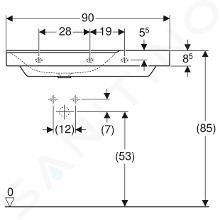 Geberit Xeno 2 - Waschtisch 900x480 mm, ohne Hahnloch und Überlauf, mit Ablagefläche rechts, mit KeraTect, weiß 500.534.01.1